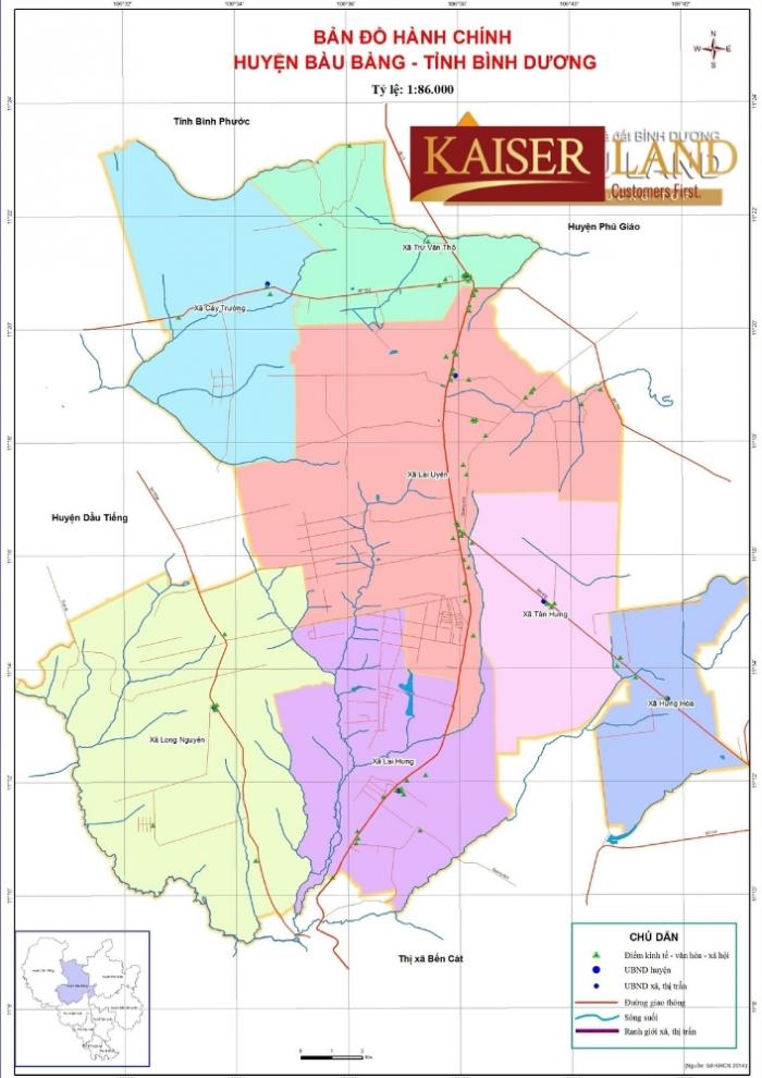 Bản đồ huyện Bàu Bàng